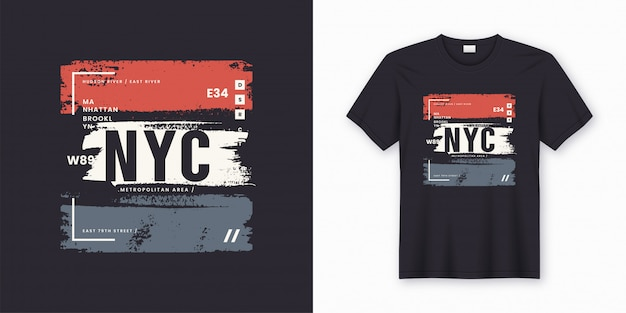 New york city stijlvolle t-shirt en kleding abstracte poster. Premium Vector