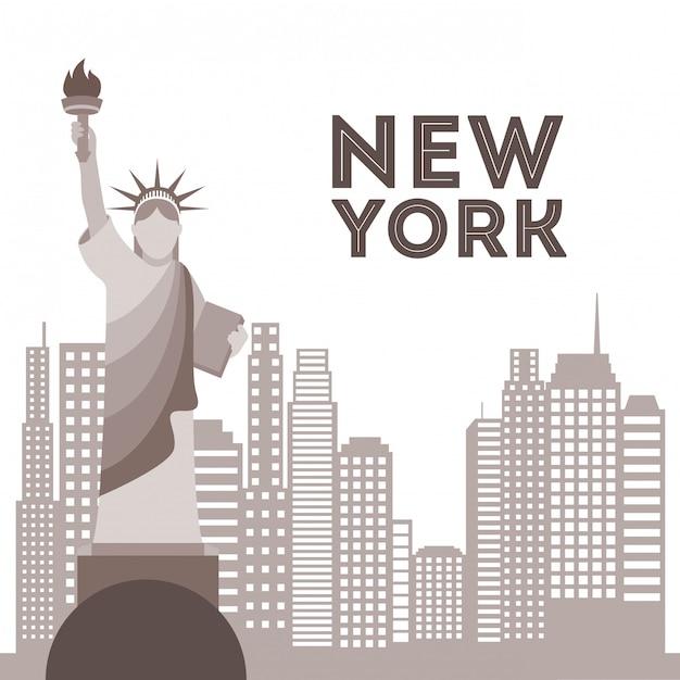 New york ontwerp over witte achtergrond vectorillustratie Premium Vector
