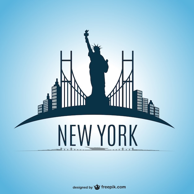 New york skyline vector design Gratis Vector