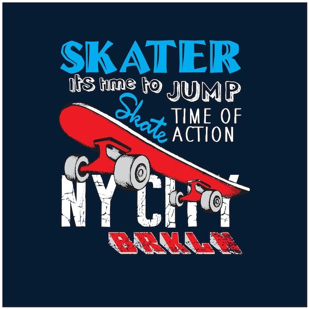 New york stad skaters vector illustratie Premium Vector