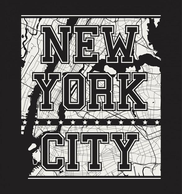 New york tee print met stadsstraten Premium Vector
