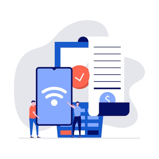 Nfc-technologieconcept met karakters, factuur, smartphone, creditcard en betaalautomaat. Premium Vector