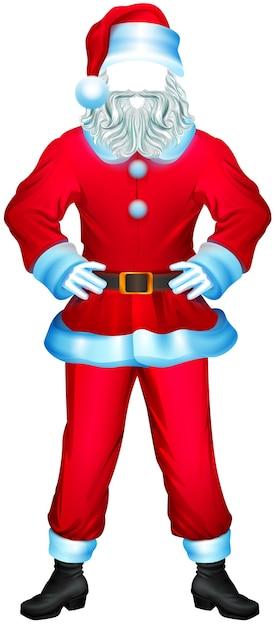 Niemand kleren van de kerstman. bontjas, broek, laarzen, wanten, hoed. geïsoleerd op wit cartoon afbeelding Premium Vector