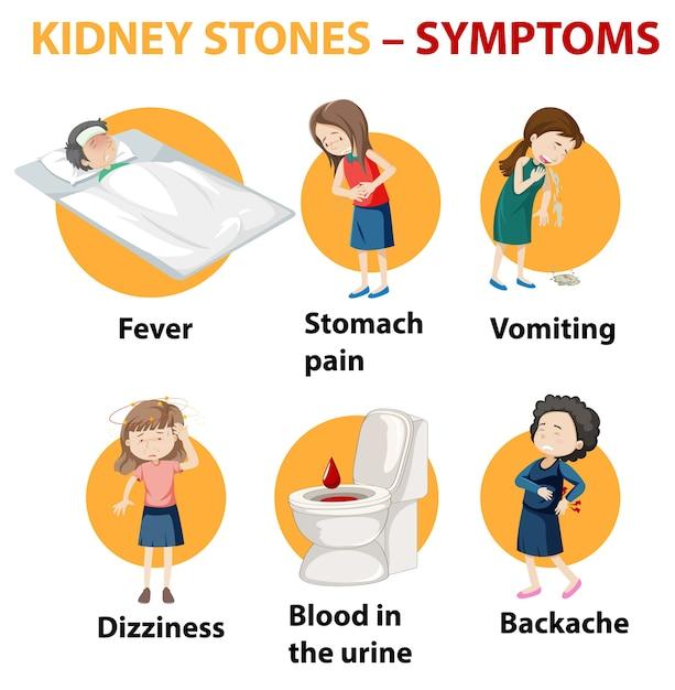 Nierstenen symptomen cartoon stijl infographic Gratis Vector