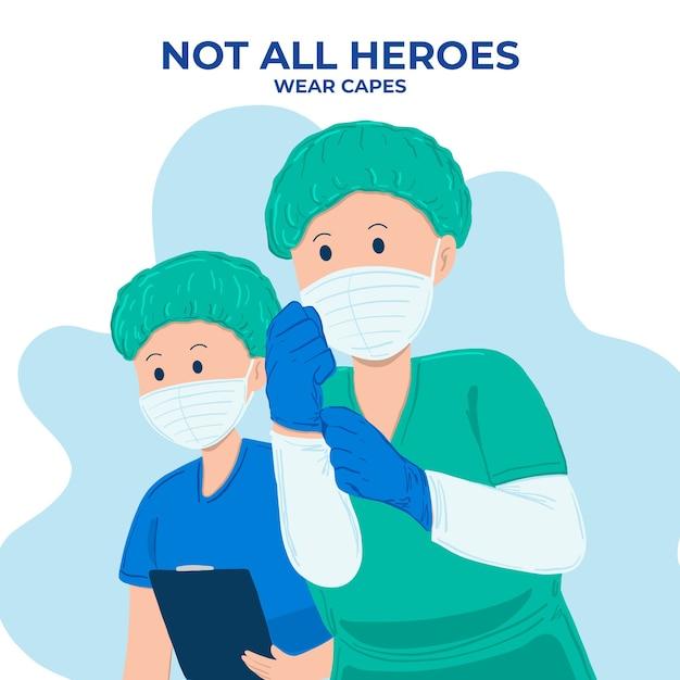 Niet alle helden dragen capes-letters Gratis Vector