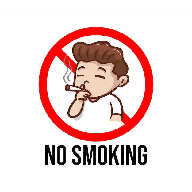 Niet roken bord met illustratie van de jongen Premium Vector