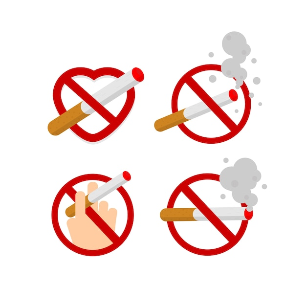 Niet roken en roken Premium Vector