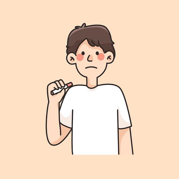 Niet roken jongen verdrietig bedrijf sigaret cartoon illustratie Premium Vector