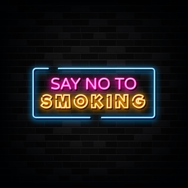 Niet roken neon tekstteken Premium Vector