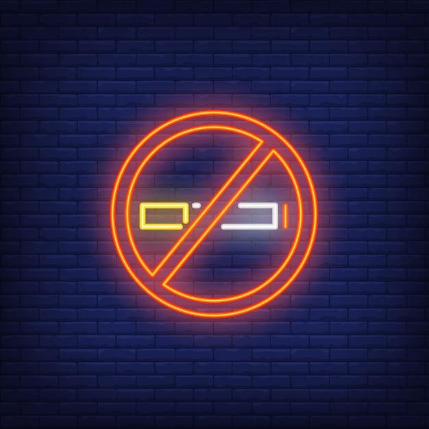 Niet roken neonreclame Gratis Vector