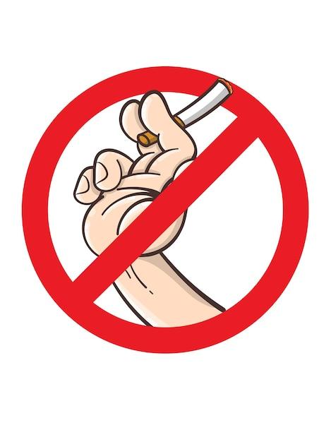 Niet roken teken, cartoon stijl Premium Vector