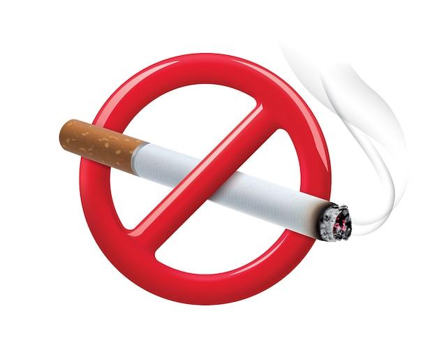 Niet roken teken geïsoleerd op wit Premium Vector