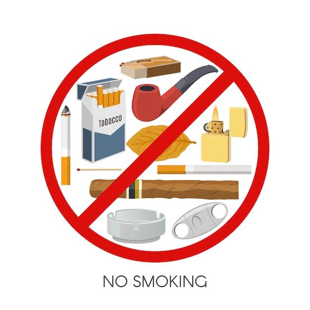 Niet roken teken ontwerp Gratis Vector