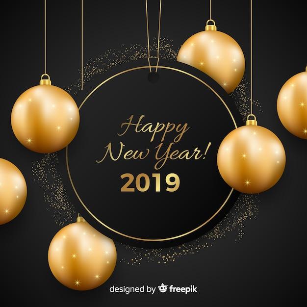 Nieuw jaar 2019 met gouden ballenachtergrond Gratis Vector