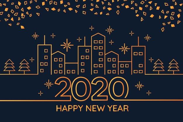 Nieuw jaar 2020 achtergrondconcept in overzichtsstijl Gratis Vector