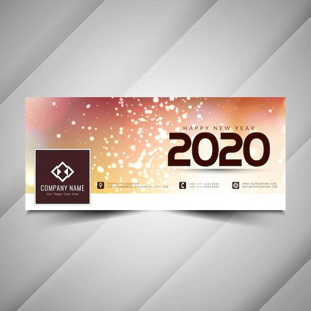 Nieuw jaar 2020 decoratief facebook-omslagontwerp Gratis Vector