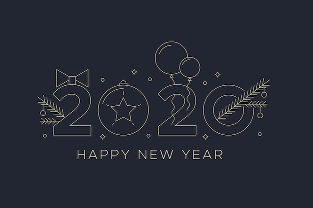 Nieuw jaar 2020 met ballonnen achtergrond in kaderstijl Gratis Vector