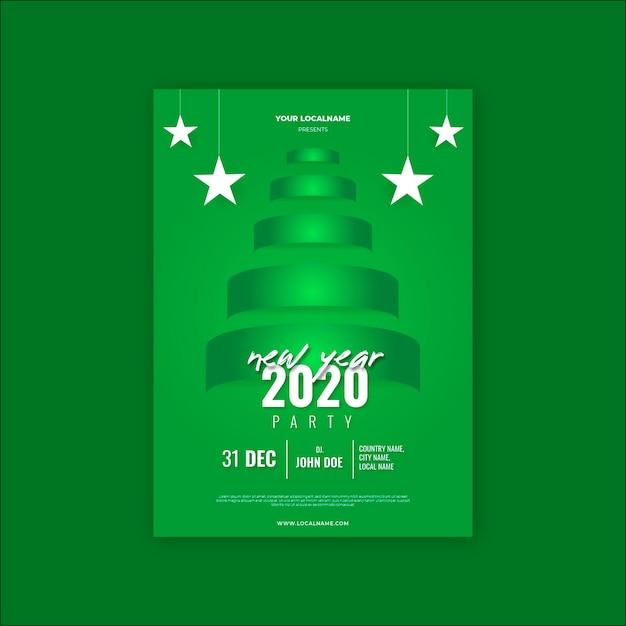 Nieuw jaar 2020 party flyer sjabloon Gratis Vector