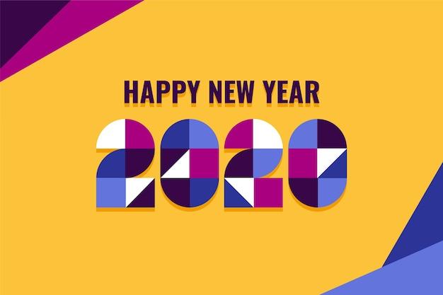 Nieuw jaar 2020 plat ontwerp behang Gratis Vector