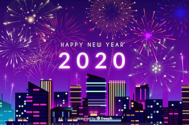 Nieuw jaarconcept met vuurwerk Gratis Vector