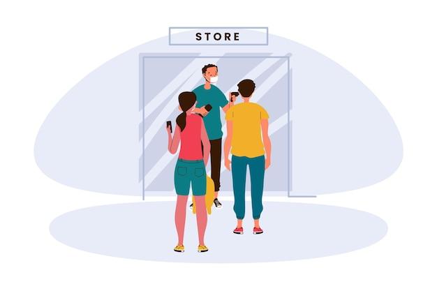 Nieuw normaal bij de ingang van winkels illustratie Premium Vector