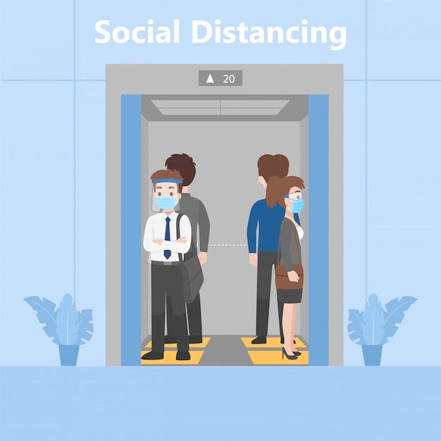 Nieuw normaal leven mensen in zakelijke outfits sociale afstand staan in lift op voetafdruk teken Premium Vector