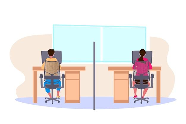 Nieuw normaal op kantoor Gratis Vector