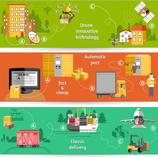 Nieuw pakket levering met drone innovatieve technologie logistieke service oplossingen banner Gratis Vector
