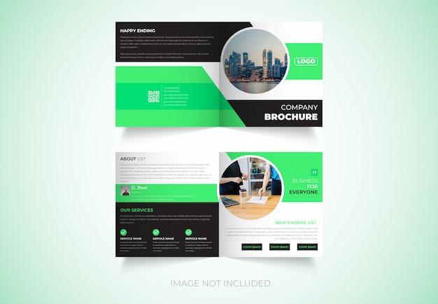 Nieuw, vierkant, tweevoudig brochureontwerp Premium Vector