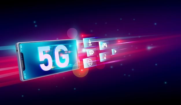 Nieuwe 5de generatie internet Premium Vector