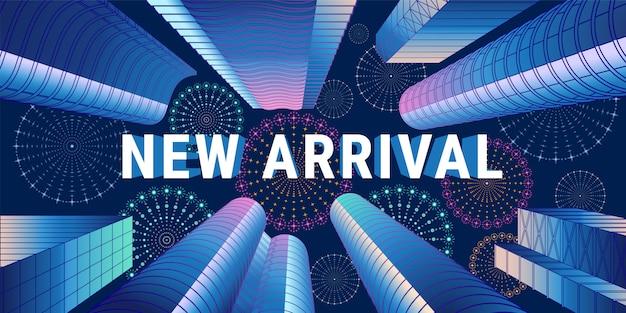 Nieuwe aankomstillustratie, banner Premium Vector