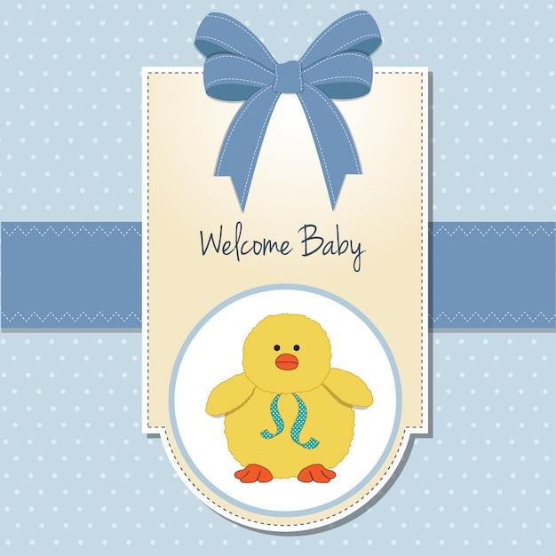 Nieuwe babyjongen welkomstkaart Premium Vector