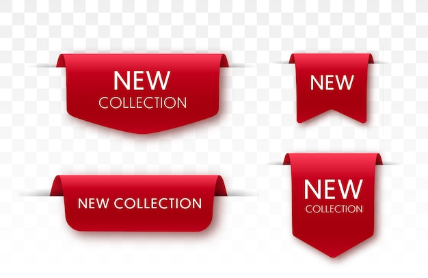 Nieuwe collectie sale tags. 3d-labels en badges. rode schuiflinten. vector banners Premium Vector