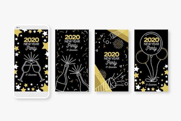 Nieuwe collectie verhaalcollecties instagram instagram voor het nieuwe jaar 2020 Gratis Vector