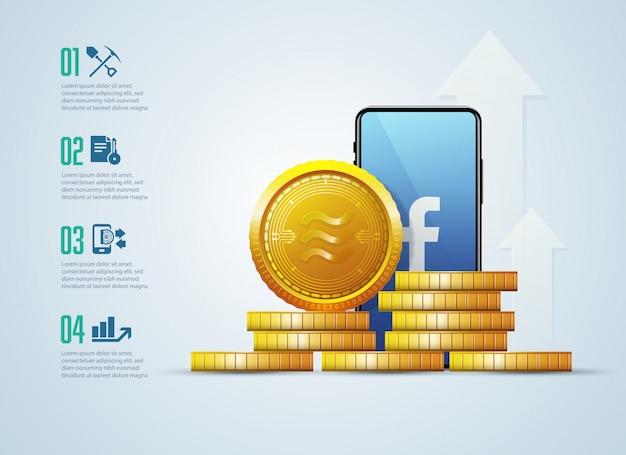 Nieuwe cryptocurrency, weegschaal, technologie-infographic Premium Vector