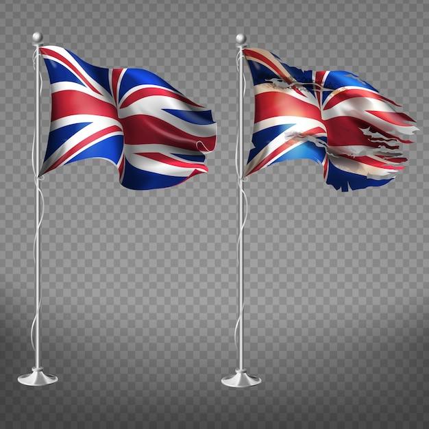 Nieuwe en oude, gescheurde nationale vlag van engeland wapperen in de wind op metalen vlaggenmast Gratis Vector