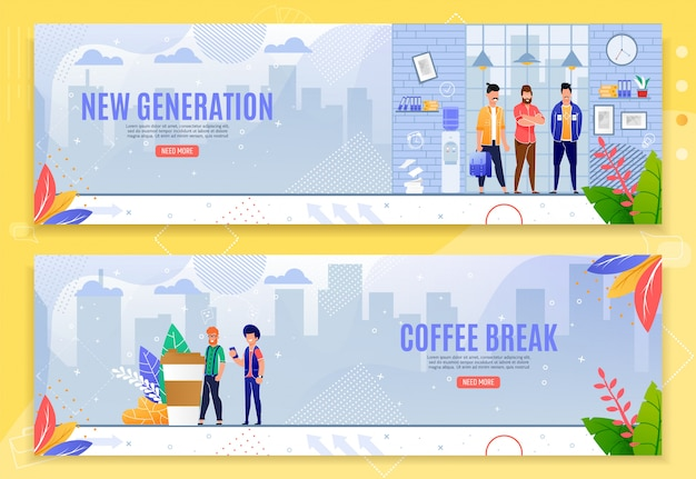 Nieuwe generatie en koffiepauze platte banner set Premium Vector