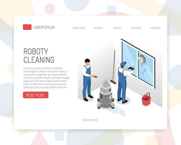 Nieuwe generatie robotstofzuigers die het isometrische de websiteontwerp schoonmaken van het de dienstconcept met het navigeren van het apparaten vectorillustratie van de vensterwas Gratis Vector