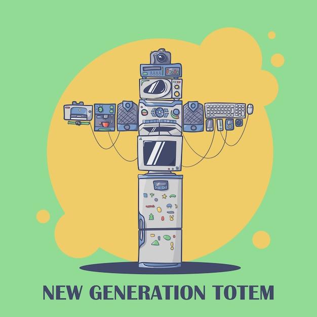 Nieuwe generatie totemverbinding van verschillende gadgets Premium Vector