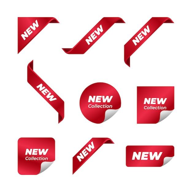 Nieuwe hoek lint vector ontwerpset Premium Vector