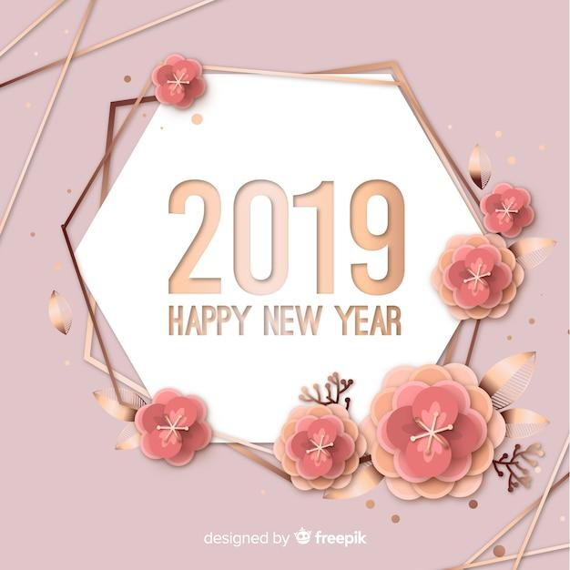 Nieuwe jaar 2019 achtergrond in papierstijl Gratis Vector