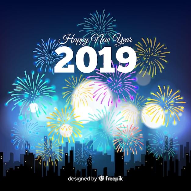 Nieuwe jaar 2019 achtergrond Gratis Vector