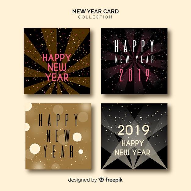 Nieuwe jaar 2019 kaarten Gratis Vector