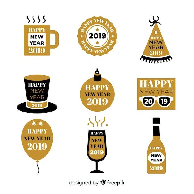 Nieuwe jaar 2019 labelcollectie Gratis Vector