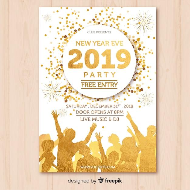 Nieuwe jaar 2019 partijbanner Gratis Vector