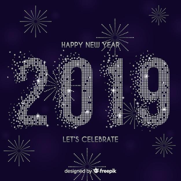 Nieuwe jaar 2019-samenstelling met vuurwerk Gratis Vector