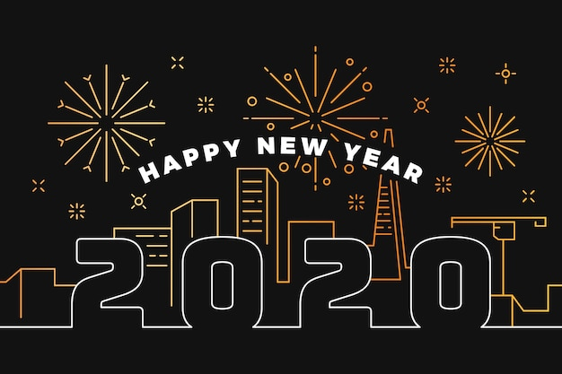 Nieuwe jaar 2020-achtergrond in overzichtsstijl Gratis Vector
