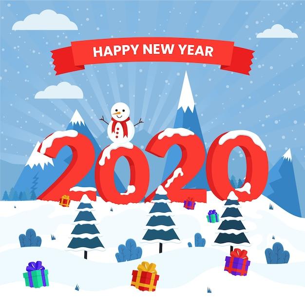 Nieuwe jaar 2020-achtergrond in plat ontwerp Gratis Vector