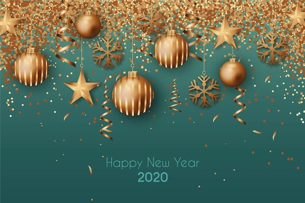 Nieuwe jaar 2020-achtergrond met realistische gouden decoratie Gratis Vector
