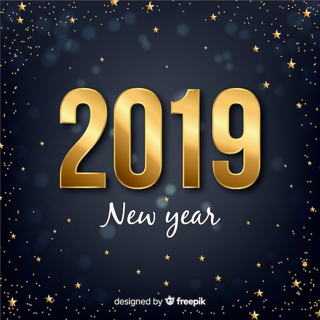 Nieuwe jaar gouden nummer achtergrond Gratis Vector